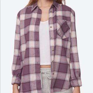 Garage soft flannel boyfriend shirt purple